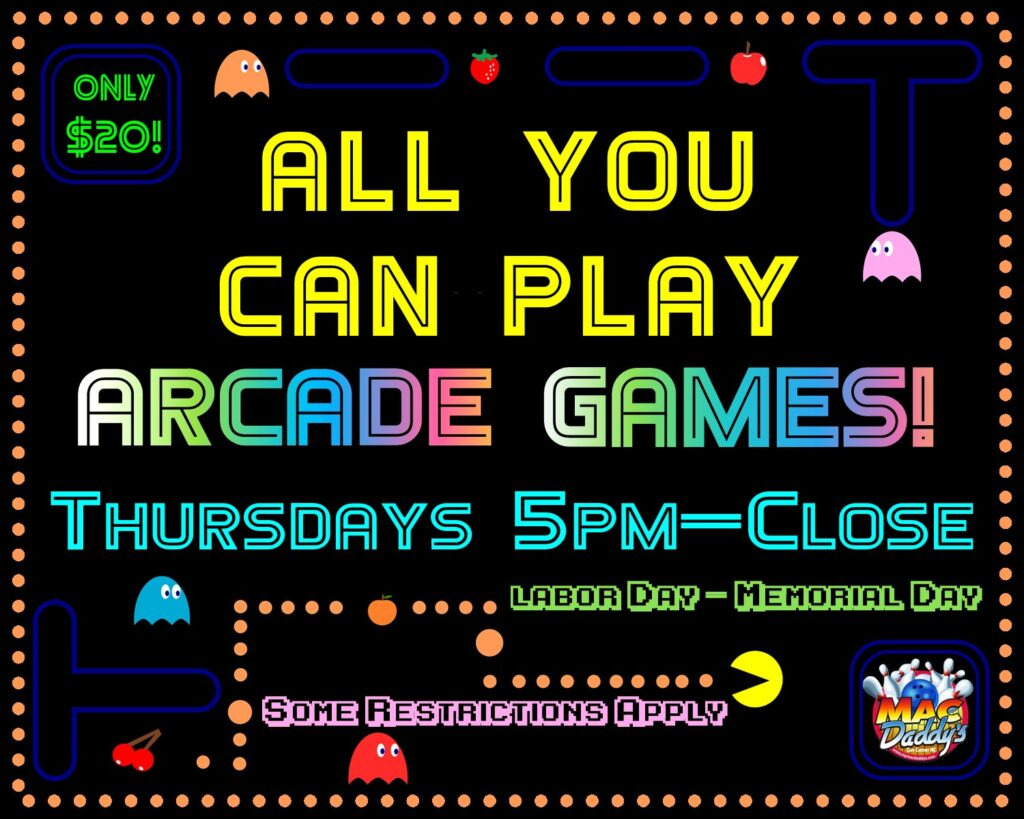 $20 Unlimited Arcade Games - Thursdays 5pm to Close